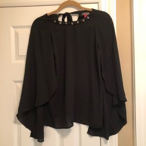 Vince Camuto Jeweled Black Flowy Blouse XS
